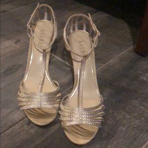 Lauren Ralph Lauren 9.5B gold heels w bling!